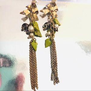 Betsey Johnson leopard drop earrings green leaf